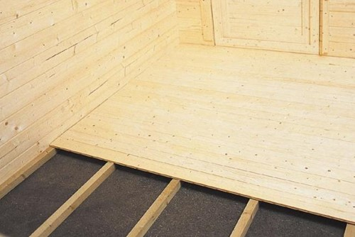 Vloer voor blokhut met funderingsmaat 380 x 280 cm, blank hout