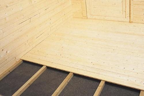 Vloer voor blokhut met funderingsmaat 300 x 250 cm, blank hout