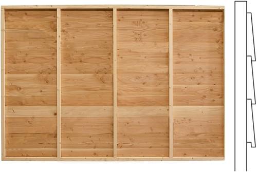 Wand F, enkelzijdig Zweeds rabat, voor  kapschuur. afm. 278,5 x 294 cm, douglas hout