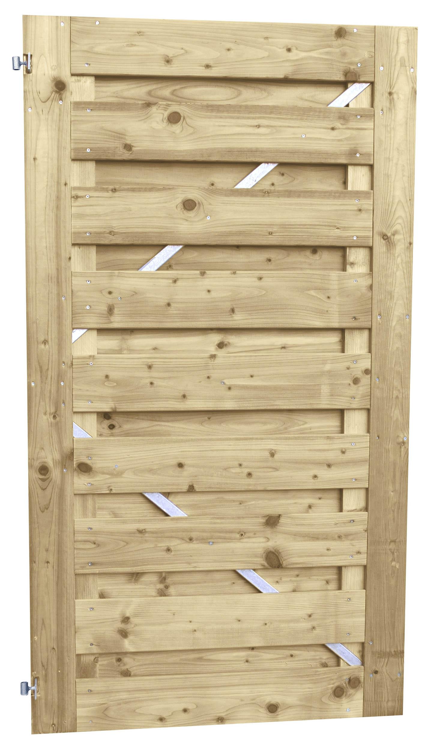 Woodvision tuinhout Hillhout tuindeur Jumbo op stalen frame, afmeting 100 x 180 cm, geïmpregneerd vuren