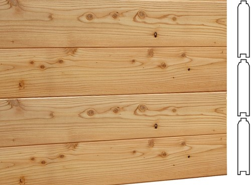 Wand D, met blokhutprofiel, voor kapschuur, afm. 278 x 298 cm, douglas hout