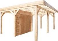 Wand C met dubbele deur van blokhutprofiel, afm. 278 x 234 cm voor 300 cm wand, douglas hout