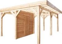 Wand C met enkele deur van blokhutprofiel, afm. 278 x 234 cm voor 300 cm wand, douglas hout