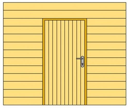 Douglasvision Wand B met blokhutprofiel t.b.v. enkele deur, afm. 228,5 x 234 cm, douglas hout-2