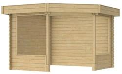 Hoekpaviljoen Watersnip, funderingsmaat 280 x 280 cm, dakmaat 327 x 327  cm, blank vuren