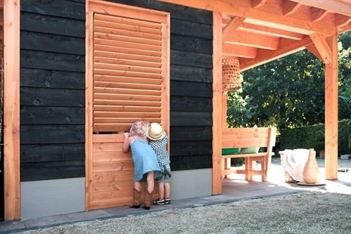 Wand B met enkele deur, enkelzijdig Zweeds rabat, afm. 228 x 234 cm, ZWART douglas hout-3
