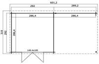Blokhut Werklust, buitenmaat 601 x 292 cm, lessenaarsdak, houtdikte 28 mm, blank vuren-2
