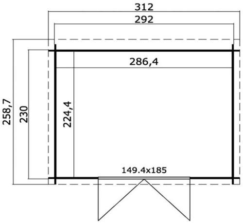 Blokhut Atlanta 2, 292 x 230 cm, met dubbele deur, lessenaarsdak, houtdikte 28 mm, onbehandeld (blank) vuren.-2