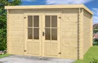 Blokhut Atlanta 2, 292 x 230 cm, met dubbele deur, lessenaarsdak, houtdikte 28 mm, onbehandeld (blank) vuren.