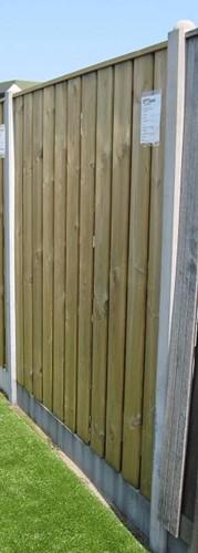 hout/betonschutting 10x10, 24-planks scherm, grijs stampbeton, per 0,95 m-2