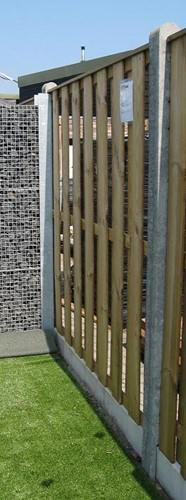 hout/betonschutting 10x10, 15-planks tuinscherm, grijs stampbeton (ACTIE) - per 0,95 m-2