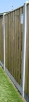 hout/betonschutting 10x10, 22-planks tuinscherm, dubbele plaat, grijs stampbeton, per 0,95 m-2