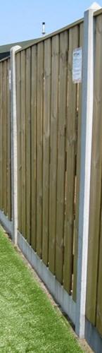 hout/betonschutting 10x10, 22-planks scherm, 2 enkelzijdige motiefplaten, lichtgewicht beton wit, per 0,95 meter-2