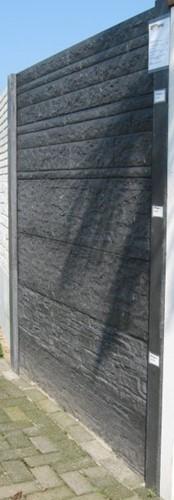 Betonschutting 12x12, 6 enkelzijdige motiefplaten, hardhouten deksloof, antraciet beton, per 0,96 m-2