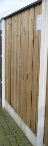 hout/betonschutting 12x12, 24-planks scherm, hardhouten deksloof, wit beton, per 0,94 m-2