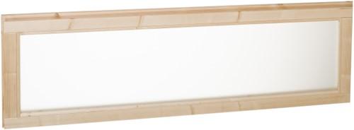 vast raam met melkglas, buitenmaat 156 x 53 cm, vurenhout