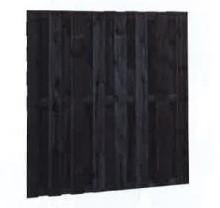 Tuinscherm, 15-planks, afm. 180 x 180 cm, zwart